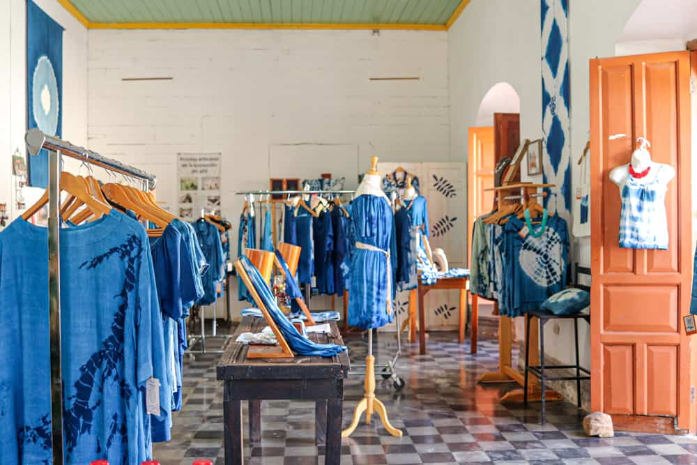 Inside a clothing store where everything is the colour of indigo blue.
