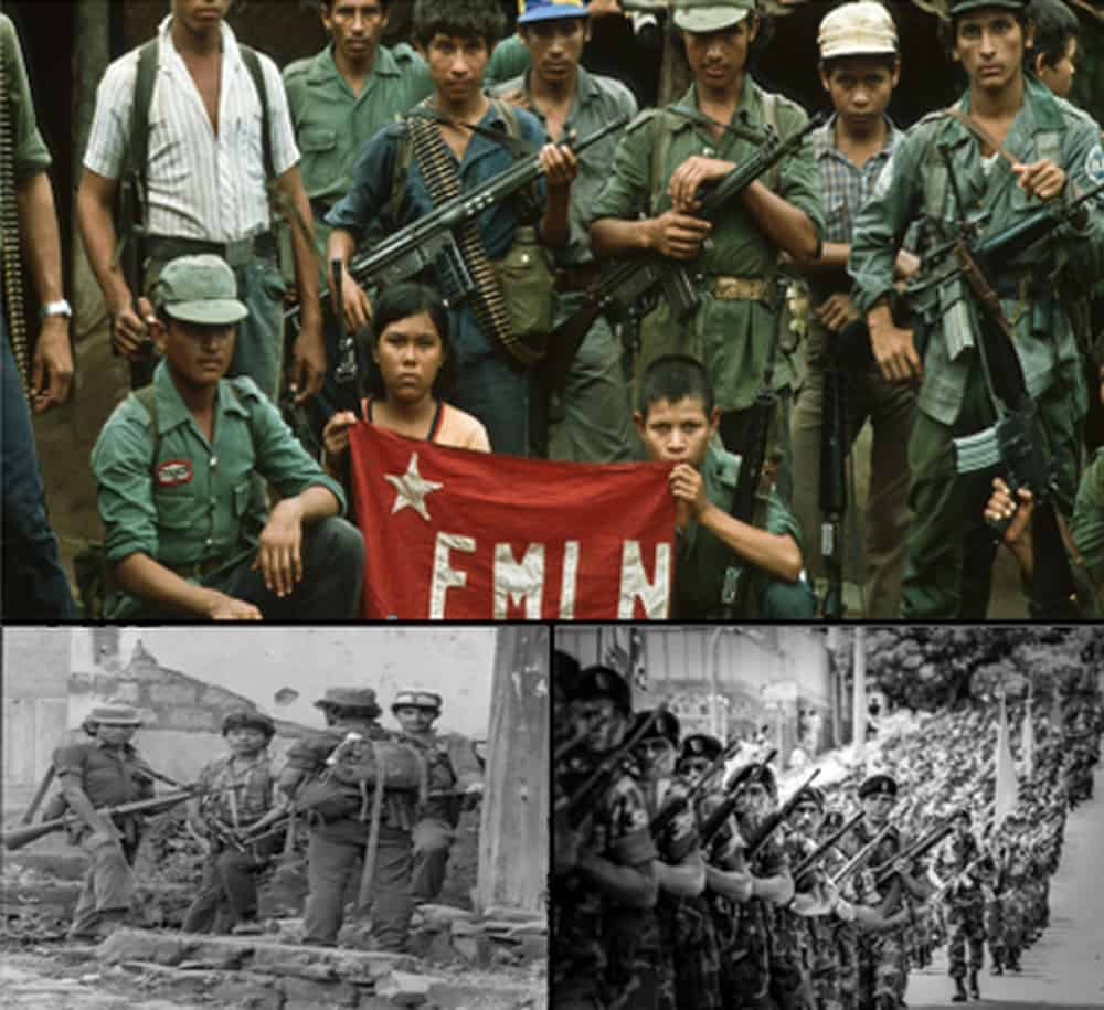 Three photos of soldiers posing and marching.